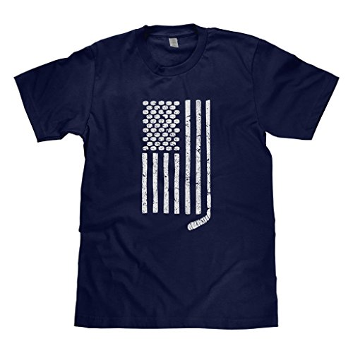 (Mixtbrand Big Boys' Hockey Stick and Pucks American Flag Youth T-Shirt S Navy )