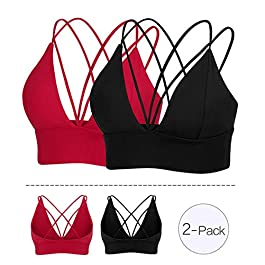 MotoRun Womens Push-up Padded Strappy Sports Bra Cross Back Wirefree Fitness Yoga Top