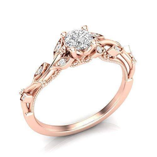 - 14K Rose Gold Floral Engagement Ring Diamond Milgrain Tree Leaf Ring
