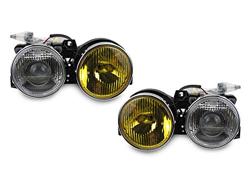 DEPO EURO LHD SMILEY PROJECTOR HEADLIGHT SET - OUTER YELLOW/INNER CLEAR LENS Compatible and Fits for 1984-1991 BMW E30 3 SERIES