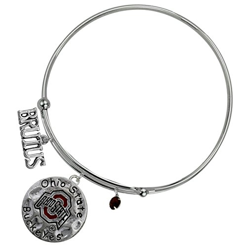 Brutus Buckeye Costume (Ohio State Buckeyes Silver Tone Coil Wire Script Bracelet)