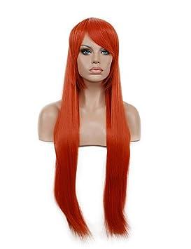 hannah anafeloz larga peluca sintética recta peluca roja de Cosplay del color. , red