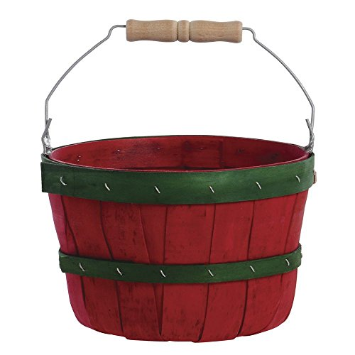 Red with Green Bands Peck Basket with Bail Handle 10 1/2″Dia x 7 1/2″H