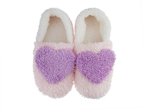 Fakeface Dolce Caldo Corallo Pile Pantofole Antiscivolo Casa Scarpe Interne Per Le Ragazze Adolescenti Taglia 4-5 Viola 2 #