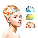 ewinever EWIN(R) 3pcs Mix Colors Silicone color designed Lycra swimming Cap hat Bathing cap swimming hat