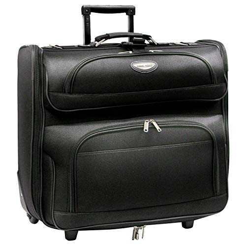 Traverler's Choice Amsterdam Rolling Garment Bag Wheeled Luggage Case, Black