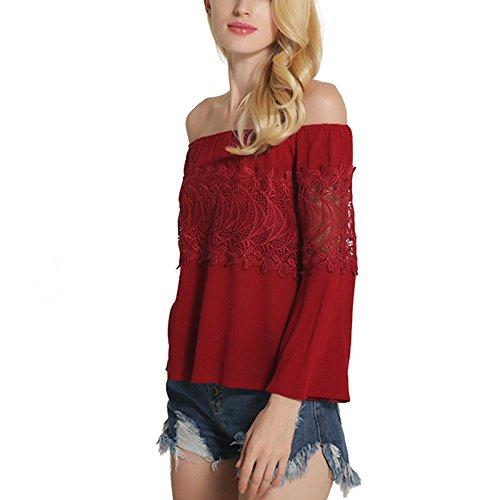 Exlura Blusa para Dama con Encaje Hombros Destapados Mangas Largas Rojo