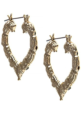 TRENDY FASHION JEWELRY HEART SHAPED BAMBOO EARRINGS BY FASHION DESTINATION | (Gold) (Gold Teardrop Heart)