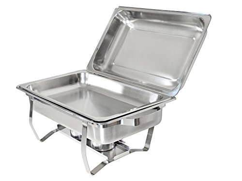 TMS Set of (2) 8 Quart Stainless Steel Rectangular Chafing Dish Full Size Buffet Catering by TMS (Image #3)