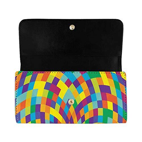 InterestPrint Women's Trifold Clutch Wallets Swirl PU Leather Card Holder