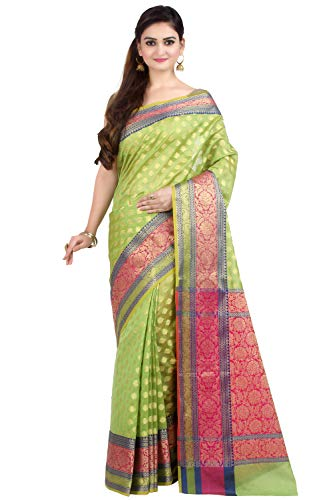 Chandrakala Women's Green Cotton Silk Blend Banarasi Saree,Free Size(1080GRE) (Best Designer Saree Collection)