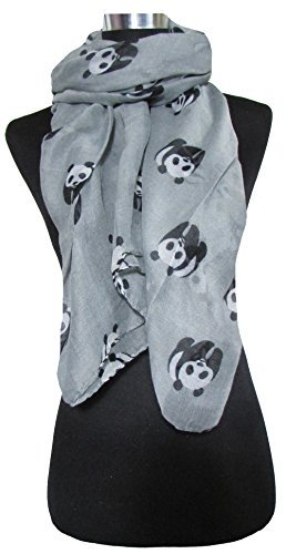 Lightweight Grey Scarf Black & White Giant Panda Print