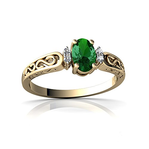 14kt Yellow Gold Lab Emerald and Diamond 6x4mm Oval filligree Scroll Ring - Size 8 ()