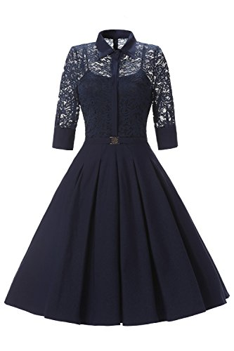 Vintage Des Années 1950 De Femmes De Style Cachor Manches 3/4 En Dentelle Noire Flare Une Ligne Robe Bleu Marine
