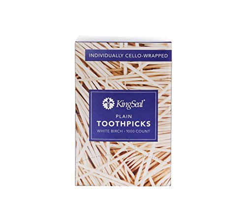 KingSeal Natural Birch Wood Toothpicks, Individually Cello Wrapped, 2.5 Inch - 4 Packs of 1000 per Pack, Plain, Unflavored