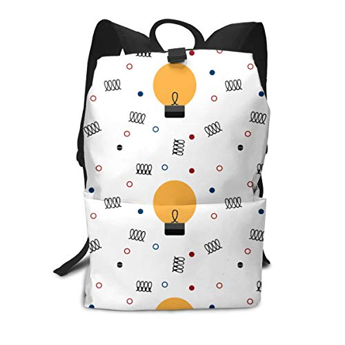 Opaque White Filament Reinforced - A Light Bulb and Filament Book Bag Holder Travel Back Backpack School Travel Hiking Small Mini Gym Teen Little Girls Youth Kid Women Men Printed Patterned Themed