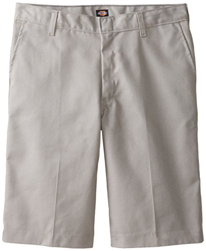 Silver Kids Shorts (Dickies Big Boys' Flat Front Short, Silver Gray, 12 Regular)
