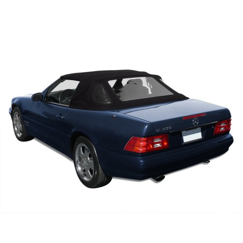 - Mercedes Benz SL R129, 1990-2002 Complete Convertible Top with 3 Plastic Windows and Haartz Stayfast Cloth, Black