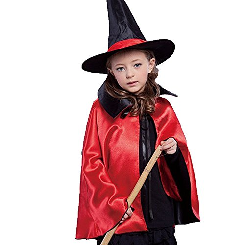 Old Man Skin Costume (Black/Red Reversible Halloween Christmas Cloak Dress Up Birthday Party Cape Costume For Kids (Red))