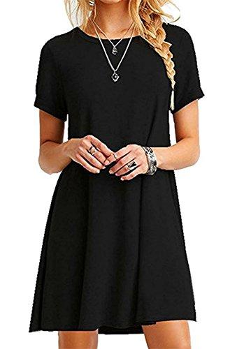 New t Court Robe de Plage Femme Fashion Robe Manches Courtes en Casual Loose Longue T-Shirt Robes de Gala Soire Noir