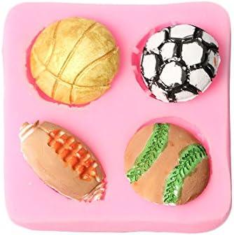 Kentop 3D Moule /à g/âteau en Silicone en Forme de Boule pour Fondant Moule /à Chocolat gel/ée Bonbons pour p/âtisserie et Football Rugby Tennis