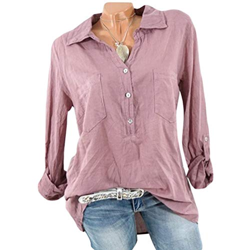 Longue Col Plus V Bouton 3 Size Manche Blouse Pink Xinwcang 4 Femme Casual Elegant Chemisier Top ARYqwIx