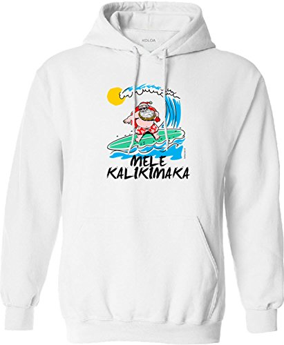 (Joe's USA Koloa Surfing Santa Claus Logo Hoodie, Hooded Sweatshirt-M-White/c)