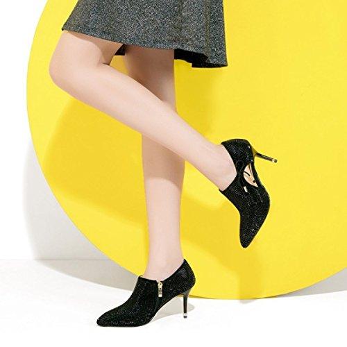 Frauen-High Heels-reizvoller Spitzer Heller Diamant-tiefe Seiten-Reißverschluss-Bogen-Höhle-hochhackige Schuhe Pumpt Damen-Hochzeits-Patry-Gerichts-Schuhe Black