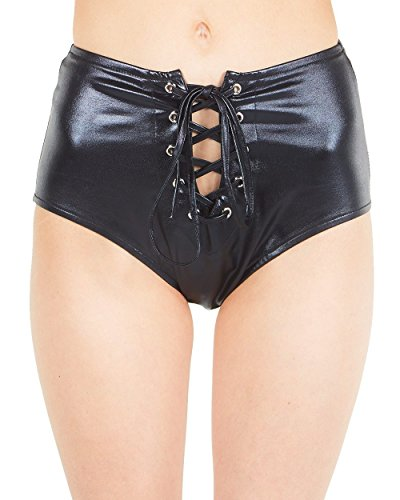 iHeartRaves Black Femme Fatale Faux Leather Lace Up Bottoms (Small)