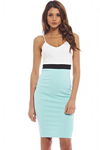 AX Paris Women's Strappy Colour Block Bodcon Midi Cream Soft Aqua Dress(Blue, Size:4)