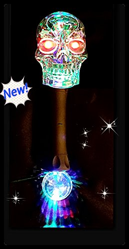 Light Up Flashing Skull Wand With Prism Ball (Fun for kids with autism too)