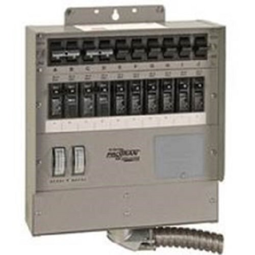 Reliance Transfer Panel - 510C Pro/Tran2 50-Amp 10-Circuit 2 Manual Transfer Switch with Watt Meters
