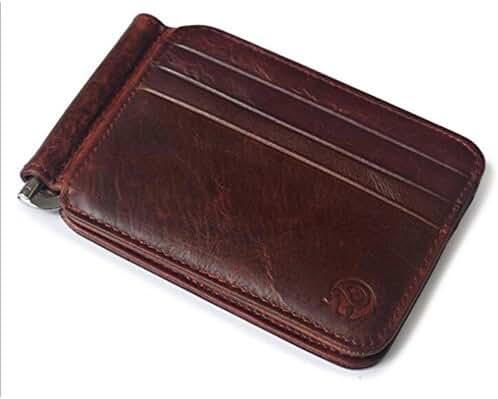 Badiya Men's Vintage Genuine Leather Bifold Money Clip Wallet Slim Card Holders