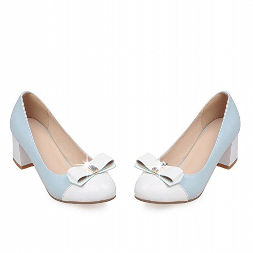 Latasa Womens Cute Two Toned Bow Mid Pumps Tacchi Chunky Blu (colore Principale)