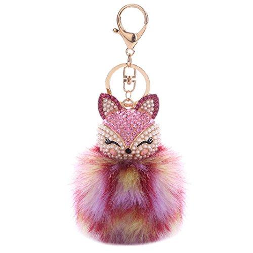 Porte-clés Sisit Nouvelle boule de fourrure de renard 7-9cm avec chaîne de tête de renard artificiel. Incrustation perle strass porte-clés (Modèle E)