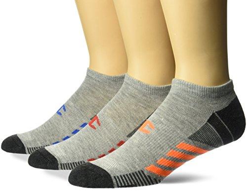 Champion Men's 3 Pack No Show Training Socks, White Assortment, 6-12, Grey/Blue