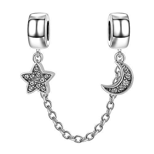 - SOUFEEL Moon Star Charm Stopper Crystal 925 Sterling Silver Charms Safety Chain for Bracelets