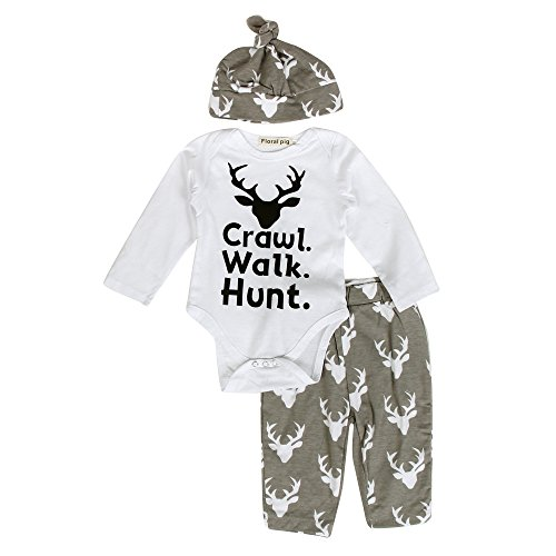 Mealeaf Toddler Christmas Outfit Baby Boys Girls Letter Deer Print Romper + Pants + Hat Clothes Set 0-3t White
