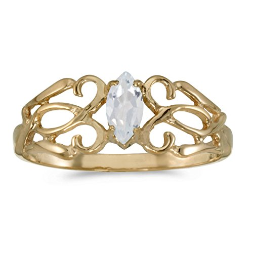 - 0.27 Carat (ctw) 10k Yellow Gold Marquise White-Topaz Solitaire Filigree Design Antique Engagement Fashion Ring (6 x 3 MM) - Size 7.5