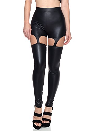 J2 LOVE Made in USA Faux Leather Garter Strap Cut Out Leggings ,Large,Black