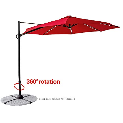 Set Solar Hanging Light (FLAME&SHADE 10' LED Lighted Cantilever Offset Hanging Market Umbrella with Tilt and Solar Lights for Large Outdoor Balcony or Terrace, Red)
