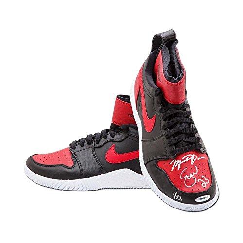 Michael Jordan & Serena Williams Autographed & Inscribed Red & Black Court Flare Air Jordan1 Shoes - Upper Deck - Tennis Autographed Miscellaneous Items