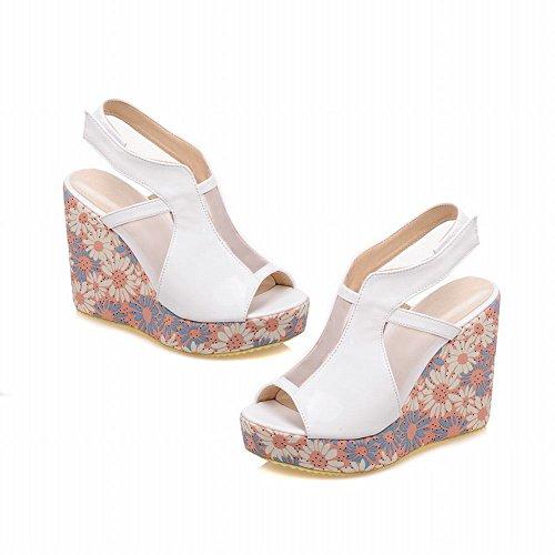 Carolbar Mode Kvinna Söt Peep Toe Voile Mesh Blommönster Elegans Plattform Kilar Sandaler Vit
