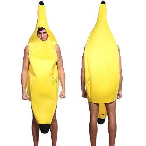 Anladia Banana Costume Lightweight Man Deluxe Comedy Fancy Dress Night Outfit Full Suit for Halloween Party, Cosplay, Scary Game Yellow
