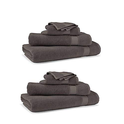 RALPH LAUREN Wescott 6 Piece Bath Towel Set - 100% Cotton, Charcoal Grey , Assorted