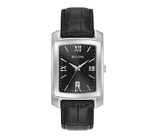 Bulova Men's Classic Crocodile Grain Leather Strap Rectangular Watch