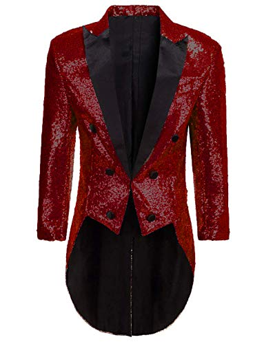 (Blazer for Circus Party Women Shiny Sequins Tuxedo Performance Coat for Ice Show Dark)