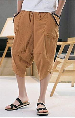 サルエルパンツ メンズハーフパンツ メンズズボン 袴パンツ ワイドパンツ 七分丈 短パン ショートパンツ 麻 カジュアル 夏 無地 調整紐 ゆったり 通気性 大きいサイズ 男女兼用