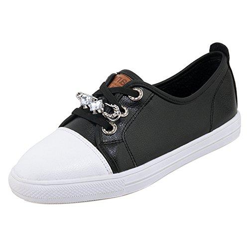 Casual Lace Asian 35 Skateboard TAOFFEN Size up Women's Sneaker Shoes Black 1SwAfnx