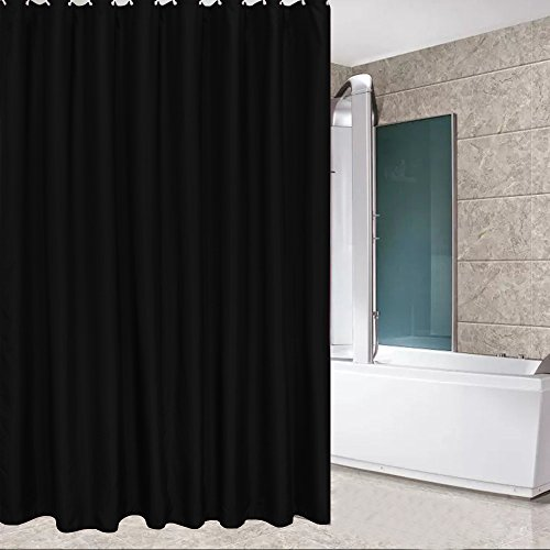 Extra Heavy Black Liner - Eforcurtain Modern Water Repellent Solid Shower Curtain Fabric, Mildew-Free Bathroom Curtain Extra Long 72 By 84-Inch, Black